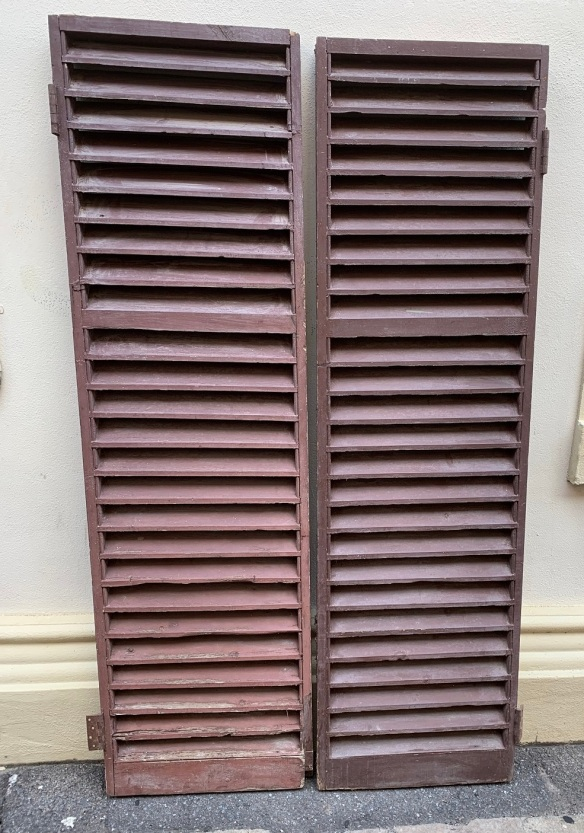 vintage salvaged 1800s 1900 1910 1920 1930 1940 1950 recycled demolition reproduction, restoration, renovation secondhand, used , original,old,reclaimed,heritage,antique, victorian,art nouveau edwardian, georgian,art decoPair of Louvres , 1140 mm wide x 1975 mm tall , Set Q , $ 285 the pair