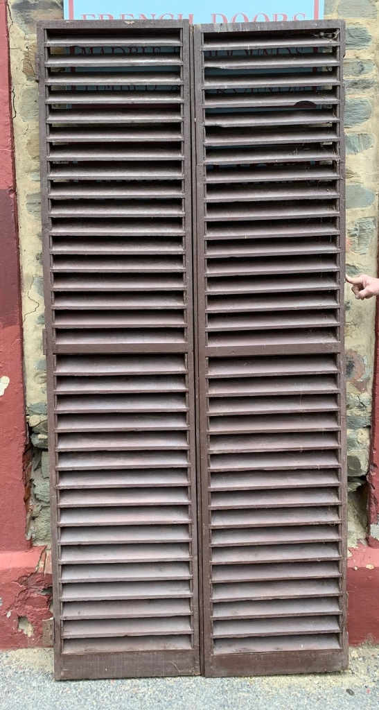 vintage salvaged 1800s 1900 1910 1920 1930 1940 1950 recycled demolition reproduction, restoration, renovation secondhand, used , original,old,reclaimed,heritage,antique, victorian,art nouveau edwardian, georgian,art decoLarge pair of Louvres , 1160 mm wide x 2525 mm tall Set W , $ 285 the set