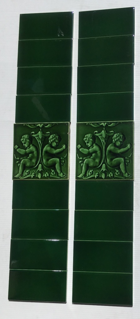 Original T & R Boote putti / cherub feature tiles, made from 1862-1910, moulded, monochrome deep green, two panel fireplace set, $165 SET 249 salvaged, vintage recycled, demolition, reproduction, restoration, home renovation secondhand, used , original, old, reclaimed, heritage, antique, victorian, art nouveau edwardian, georgian, art decoDetail of Deco style lettering to pub door