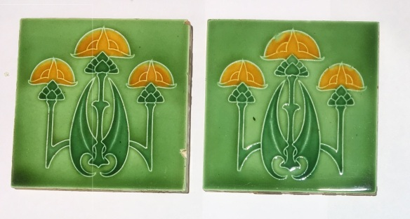 Rhodes, England c1910, trio of flowers, yellow on two tone green glaze. $90 for the pair (can be set into fireplace) SET 268 Rhodes, England c1910, trio of flowers, yellow on two tone green glaze. $90 for the pair SET 268 federation salvaged vintage recycled, demolition, reproduction, restoration, home renovation secondhand, used , original, old, reclaimed, heritage, antique, victorian, art nouveau edwardian, georgian, art deco