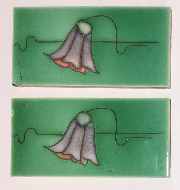 H Richards Tile Co, c1915, hand tubelined, lavender and pink bell shaped flower on green glaze, collector tiles, 152 x 77 x 9mm, $55 each SET 269federation salvaged vintage recycled, demolition, reproduction, restoration, home renovation secondhand, used , original, old, reclaimed, heritage, antique, victorian, art nouveau edwardian, georgian, art deco