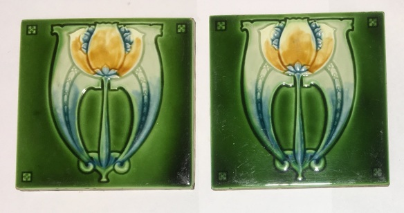 Wade feature tiles, c1910, England. Art Nouveau with yellow flower, collector tiles, some scuffs, 153 x 153 x 10mm, pair $180 WS salvaged, vintage recycled, demolition, reproduction, restoration, home renovation secondhand, used , original, old, reclaimed, heritage, antique, victorian, art nouveau edwardian, georgian, art decoDetail of Deco style lettering to pub door