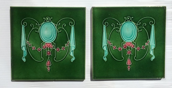 Circa 1895, Art Nouveau majolica feature tiles, moulded jewel garland design, deep mint green and pink on mid green. two available (another 4 tiles available in SET 271) $45 each WS federation salvaged vintage recycled, demolition, reproduction, restoration, home renovation secondhand, used , original, old, reclaimed, heritage, antique, victorian, art nouveau edwardian, georgian, art deco