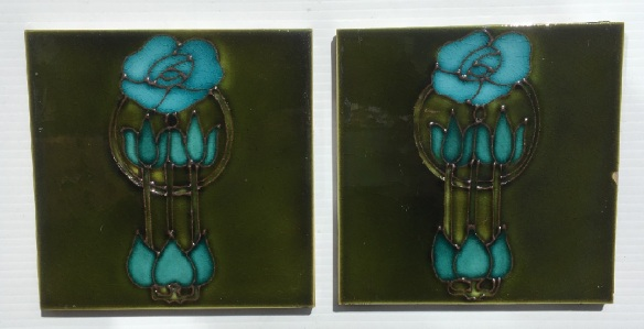 H & R Johnson, England, c1905 Original hand tubelined feature tile, collectible, deep olive green and blue $90 for the pair WSfederation salvaged vintage recycled, demolition, reproduction, restoration, home renovation secondhand, used , original, old, reclaimed, heritage, antique, victorian, art nouveau edwardian, georgian, art deco