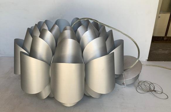 Petal design pendant light, metal, satin silver finish, drop height up to 180cm, diameter 45cm, 1 available $75