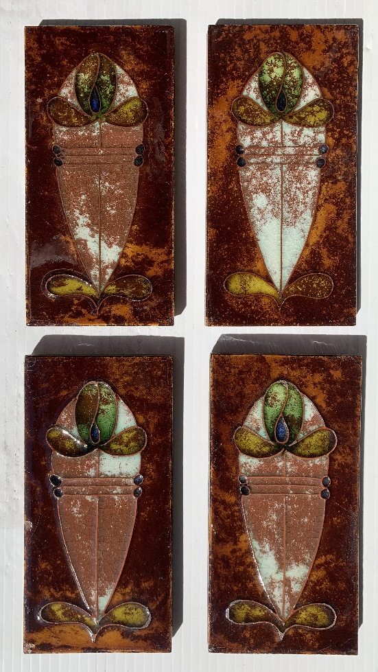 Unusual 1930s terracotta feature tiles, possibly Malkin Tile Co, England. Hand tubelined design, 5 colours of glaze, vivid, translucent, collector tiles, 4 available, $45 each WS salvaged, recycled, demolition, reproduction, restoration, home renovation secondhand, used , original, old, reclaimed, heritage, antique, victorian, art nouveau edwardian, georgian, art deco