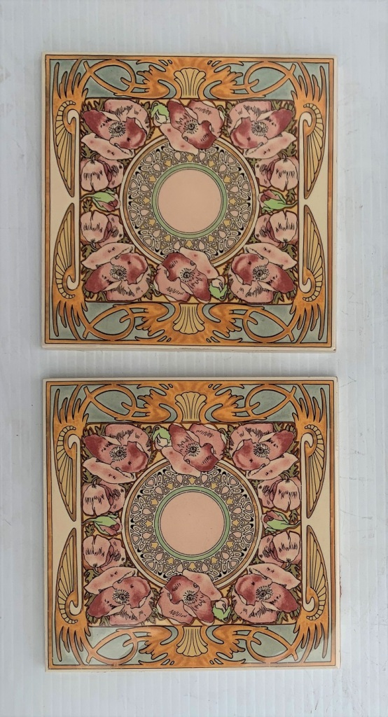 Mucha inspired reproduction Stovax feature tiles, match 'Nocturnal Slumber' design. Match well with burgundy tiles as a fireplace set.151 x 151 x 9mm, $66 for the pair. SET 277salvaged, recycled, demolition, reproduction, restoration, renovation,collectable, secondhand, used , original, old, reclaimed, heritage, antique, victorian, art nouveau edwardian, georgian, art deco