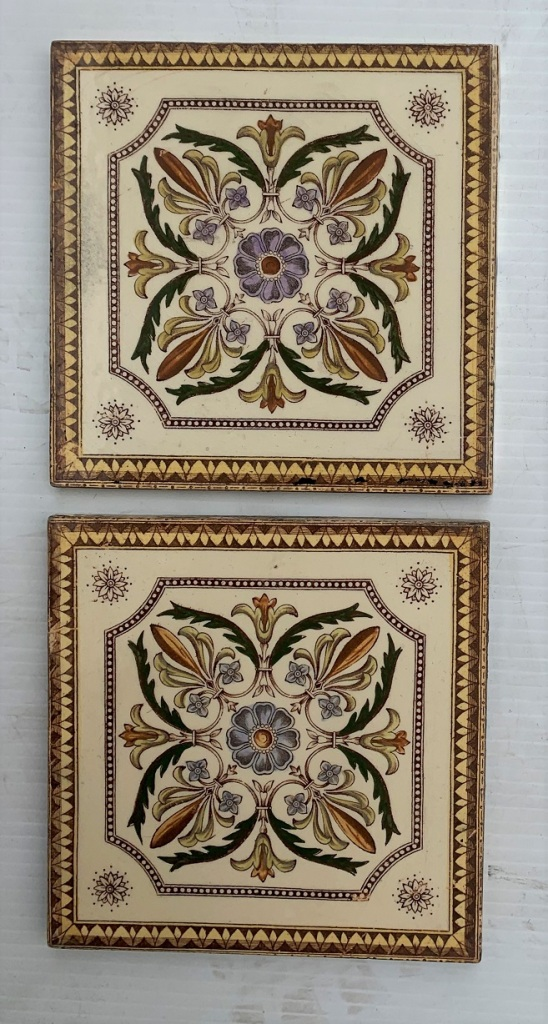 salvaged, recycled, demolition, reproduction, restoration, renovation,collectable, secondhand, used , original, old, reclaimed, heritage, antique, victorian, art nouveau edwardian, georgian, art decoCirca 1900, England Classical design feature tiles, 4 colour hand tinted print on cream clay. $90 pair SET 280