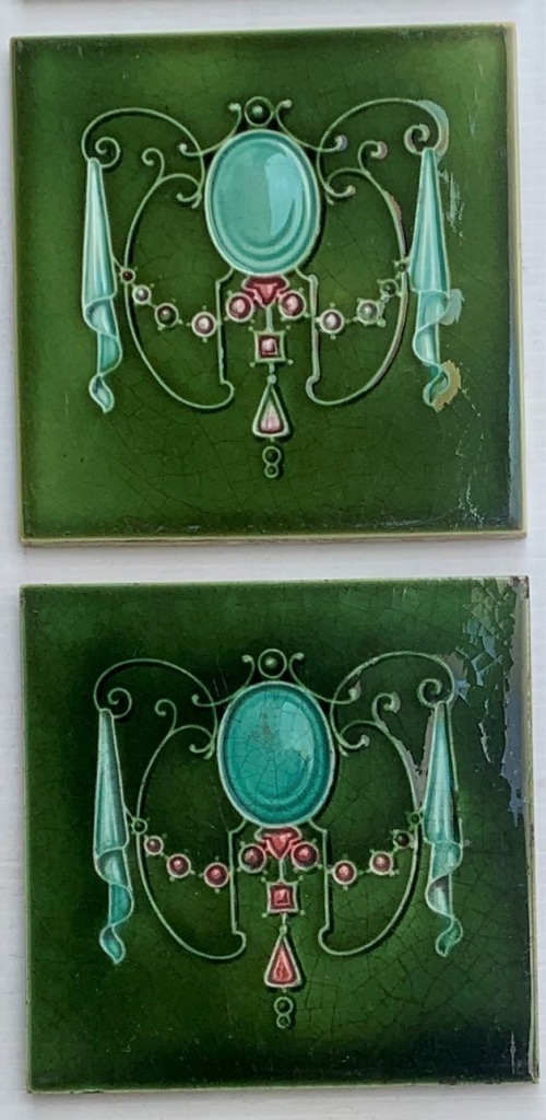 Detail of Circa 1895, T & R Boote, England. Art Nouveau majolica feature tiles, moulded jewel garland design, deep mint green and pink on mid green. Circa 1895, T & R Boote, Art Nouveau majolica feature tiles, moulded jewel garland design, deep mint green and pink on mid green. 8 tiles available, $84 per pair. SET 278 (another 4 tiles may be available in SET 271)salvaged, recycled, demolition, reproduction, restoration, renovation,collectable, secondhand, used , original, old, reclaimed, heritage, antique, victorian, art nouveau edwardian, georgian, art deco