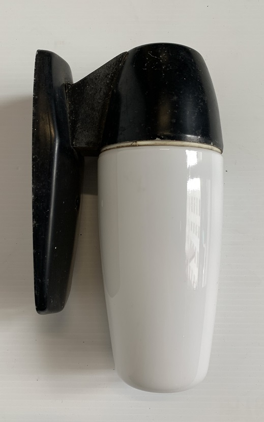 Mid century 'cocktail shaker' shaped wall light, black metal base, white glass shade, height 24cm, width 9cm, 1 x available, $65 vintage salvaged, recycled, demolition, reproduction, restoration, home renovation secondhand, used , original, old, reclaimed, heritage, antique, victorian, art nouveau edwardian, georgian, art deco