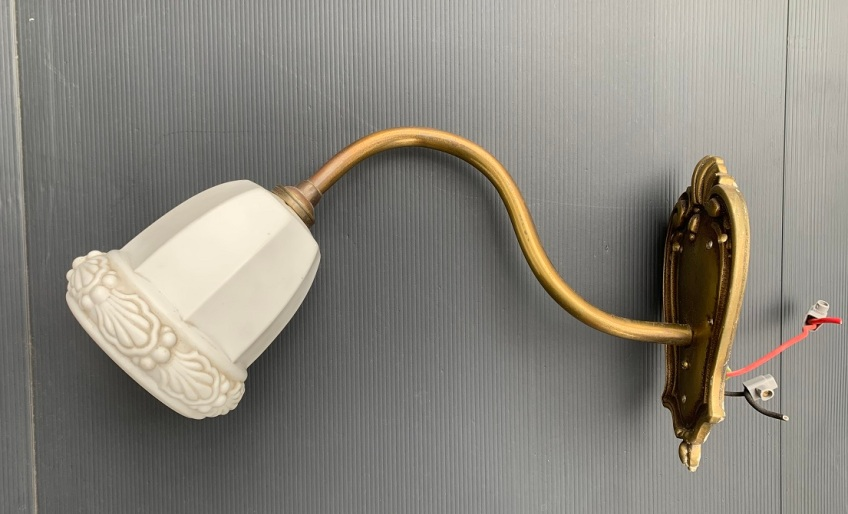 Brass wall light, white moulded shade diameter 12cm, length 37cm, height 20cm, $25 salvaged, recycled, demolition, reproduction, restoration, home renovation secondhand, used , original, old, reclaimed, heritage, antique, victorian, art nouveau edwardian, georgian, art deco