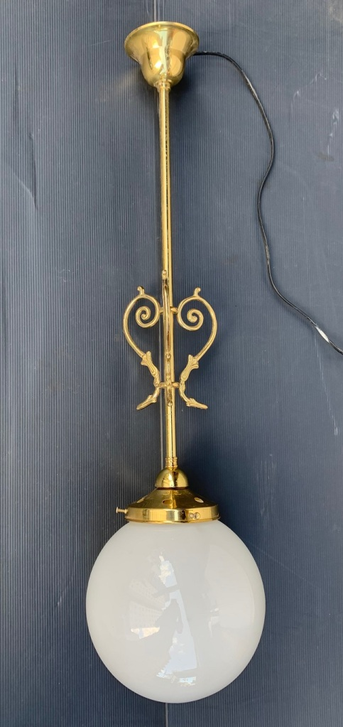 Brass rod ceiling light with scrolls, white milk glass ball shade diam 20cm, drop height 75cm, 2 available $145 each salvaged, recycled, demolition, reproduction, restoration, home renovation secondhand, used , original, old, reclaimed, heritage, antique, victorian, art nouveau edwardian, georgian, art deco