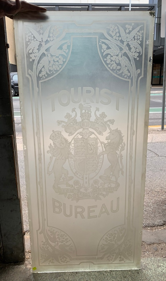 """vintage salvaged 1800s 1900 1910 1920 1930 1940 1950 recycled demolition reproduction, restoration, renovation secondhand, used , original,old,reclaimed,heritage,antique, victorian,art nouveau edwardian, georgian,art decoEtched glass """" tourist Bureau """" sign , 600 mm wide x 1305 mm tall , $ 545"""