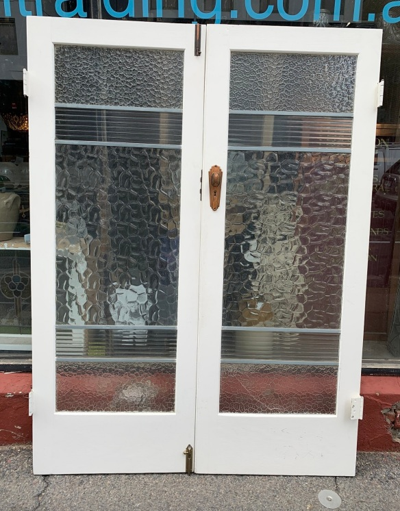 vintage salvaged 1800s 1900 1910 1920 1930 1940 1950 recycled demolition reproduction, restoration, renovation secondhand, used , original,old,reclaimed,heritage,antique, victorian,art nouveau edwardian, georgian,art decoPair of internal Deco french doors , with original hardware , including parliament hinges , 1505 mm wide x 2015 mm tall , $ 285 pair ( crack in the bottom glass to one door )