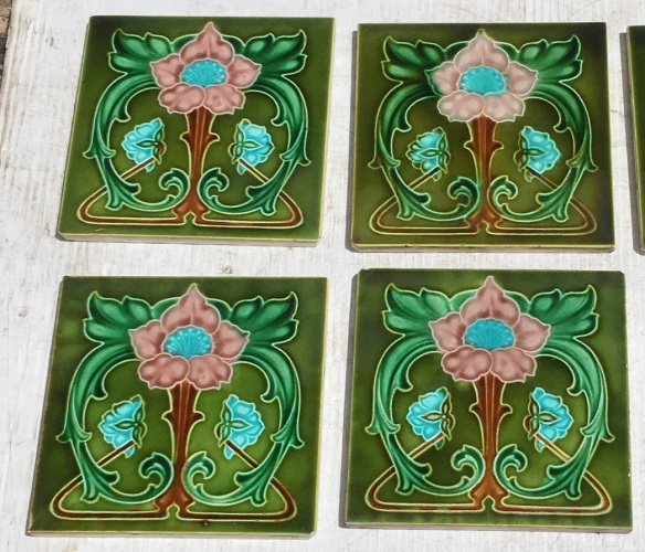 Rare original Rhodes Tile Co. 1905 Art Nouveau feature tiles, pink and blue flowers on green background, 153 x 153 x 8mm. Collector tiles. 4 available $85 each WS Rare original Rhodes Tile Co. 1905 Art Nouveau feature tiles, 153 x 153 x 8mm. Collector tiles. 4 available $85 each WS salvaged, recycled, demolition, reproduction, restoration, home renovation secondhand, used , original, old, reclaimed, heritage, antique, victorian, art nouveau edwardian, georgian, art deco