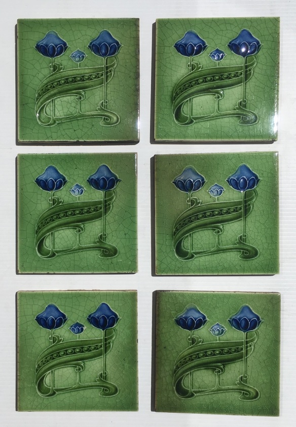 Original T & R Boote, England fireplace feature tiles, Art Nouveau, c1905, royal blue flowers on mid green, $85 per pair SET 274 salvaged, recycled, demolition, reproduction, restoration, home renovation secondhand, used , original, old, reclaimed, heritage, antique, victorian, art nouveau edwardian, georgian, art deco