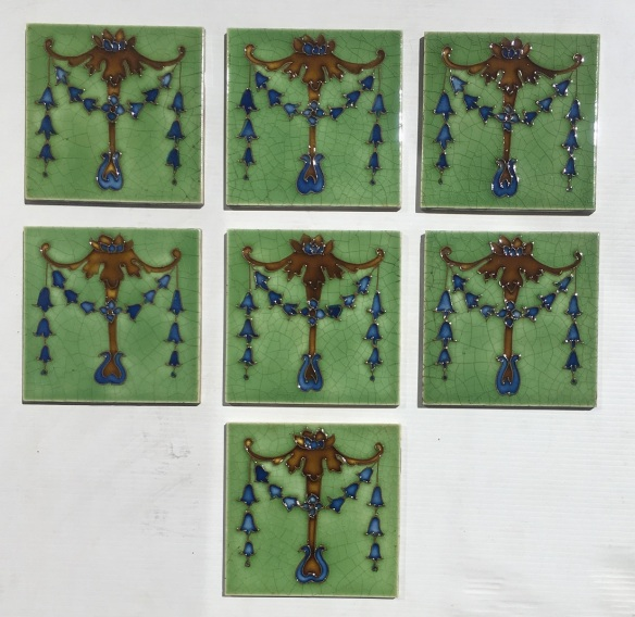 T & R Boote, England c1910, hand tubelined Classical design, garland of bluebell flowers, brown and royal blue glaze on lighter green, collector tiles, 4 tiles available, $60 each WS T & R Boote, England c1910, hand tubelined Classical design, garland of bluebell flowers, brown and royal blue glaze on lighter green, collector tiles, 7 tiles available, $60 each WSsalvaged, recycled, demolition, reproduction, restoration, home renovation secondhand, used , original, old, reclaimed, heritage, antique, victorian, art nouveau edwardian, georgian, art deco