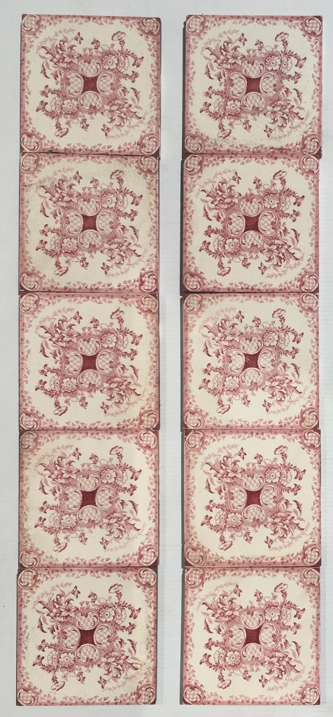 Late Victorian c 1895 transfer print tiles in burgundy on white base, Aesthetic floral design, 2 panel fireplace set, $350, can be separated into pairs, SET 275 salvaged, recycled, demolition, reproduction, restoration, home renovation secondhand, used , original, old, reclaimed, heritage, antique, victorian, art nouveau edwardian, georgian, art deco