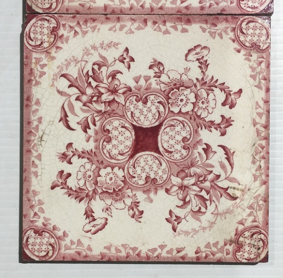 Late Victorian c 1895 transfer print tiles in burgundy on white base, Aesthetic floral design, 2 panel fireplace set, $350, can be separated into pairs, SET 275