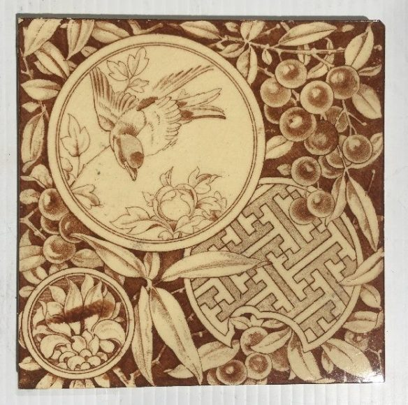 Orientialism / Aesthetic print tile c1895 Maw and Co Ltd, England. small bird with berries. brown print on buff colour clay. one only, print error on lower left. $48 SB Orientialism / Aesthetic print tile c1895 Maw and Co Ltd, England. small bird with berries. brown print on buff colour clay. one only, print error on lower right. $48 SB salvaged, recycled, demolition, reproduction, restoration, home renovation secondhand, used , original, old, reclaimed, heritage, antique, victorian, art nouveau edwardian, georgian, art deco
