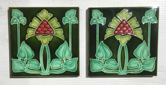 c 1905 Collectible Richards Tile Co. England, Art Nouveau, 150 x 150 x 9mm, flower design in three greens and burgundy, 2 available, $55 each , 2 available, $58 eachsalvaged, recycled, demolition, reproduction, restoration, home renovation secondhand, used , original, old, reclaimed, heritage, antique, victorian, art nouveau edwardian, georgian, art deco
