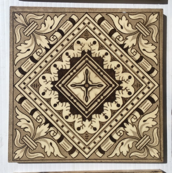 Late Victorian c 1895 transfer print tiles, geometric with classical scrolls, deep chocolate brown on cream base, 14 available, $35 each SET 273 salvaged, recycled, demolition, reproduction, restoration, home renovation secondhand, used , original, old, reclaimed, heritage, antique, victorian, art nouveau edwardian, georgian, art deco