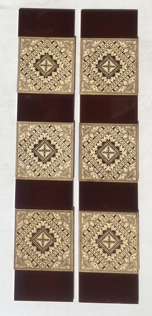 Late Victorian c 1895 transfer print tiles, geometric with classical scrolls, deep chocolate brown on cream base, 2 panel fireplace set, $250 OTB 131 salvaged, recycled, demolition, reproduction, restoration, home renovation secondhand, used , original, old, reclaimed, heritage, antique, victorian, art nouveau edwardian, georgian, art deco