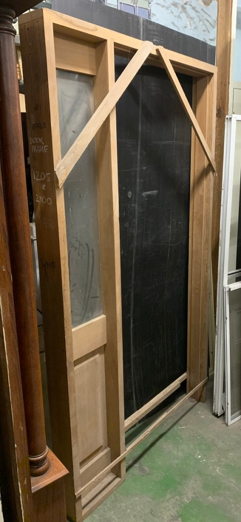 newly made western red cedar door frame with side light, 1205 mm x 2100mm, only one available, $150 salvaged, recycled, demolition, reproduction, restoration, home renovation secondhand, used , original, old, reclaimed, heritage, antique, victorian, art nouveau edwardian, georgian, art deco