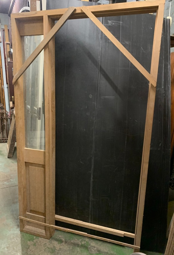 newly made western red cedar door frame with side light, 1205 mm x 2100mm $150salvaged, recycled, demolition, reproduction, restoration, home renovation secondhand, used , original, old, reclaimed, heritage, antique, victorian, art nouveau edwardian, georgian, art deco