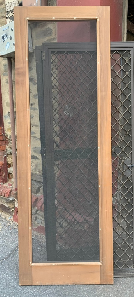 Brand new screen door, western red cedar, steel mesh, 805 x 2360mm, $45 salvaged, recycled, demolition, reproduction, restoration, home renovation secondhand, used , original, old, reclaimed, heritage, antique, victorian, art nouveau edwardian, georgian, art deco