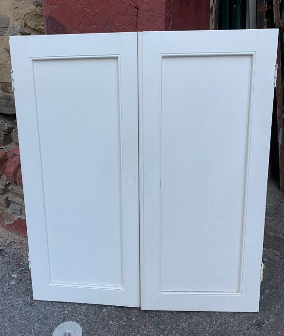 Timber cupboard door pair, width 800 x height 935mm, $20 salvaged, recycled, demolition, reproduction, restoration, home renovation secondhand, used , original, old, reclaimed, heritage, antique, victorian, art nouveau edwardian, georgian, art deco