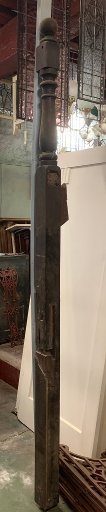 Tall staircase post/ newel post. turned timber, height 2530mm x 95mm x 95mm salvaged, recycled, demolition, reproduction, restoration, home renovation secondhand, used , original, old, reclaimed, heritage, antique, victorian, art nouveau edwardian, georgian, art deco