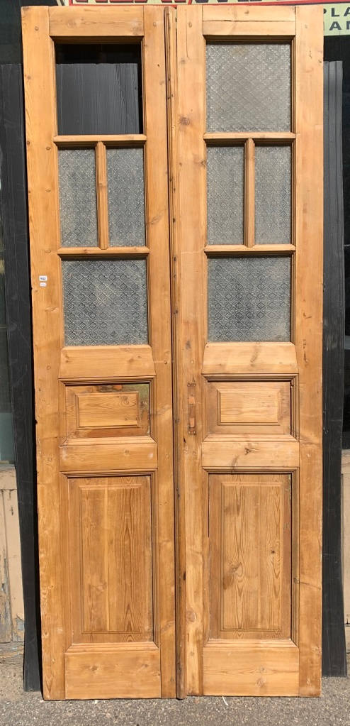 Large stripped timber French door pair, glass panels, w1010 x h 2430mm, $485salvaged, recycled, demolition, reproduction, restoration, home renovation secondhand, used , original, old, reclaimed, heritage, antique, victorian, art nouveau edwardian, georgian, art deco
