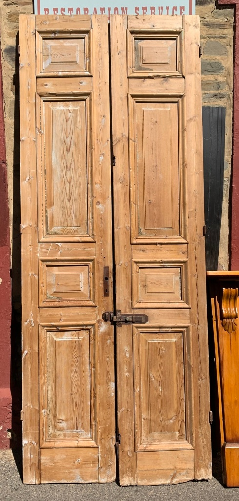 Solid timber French door pair, stripped, w 1100 x h 2825mm, $440 salvaged, recycled, demolition, reproduction, restoration, home renovation secondhand, used , original, old, reclaimed, heritage, antique, victorian, art nouveau edwardian, georgian, art deco