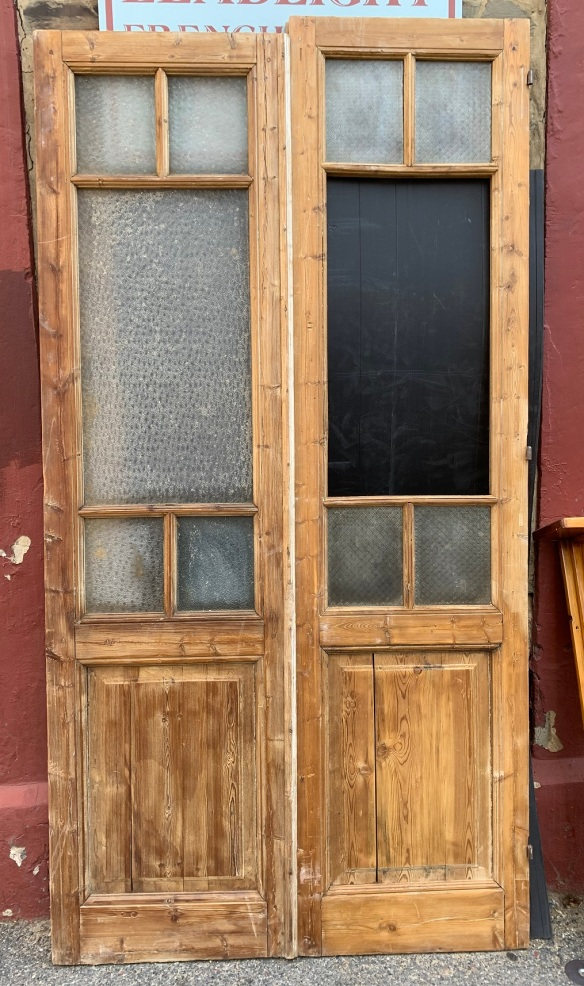 Large stripped timber French door pair, glass panels, w1325 x h 2555mm, $560 salvaged, recycled, demolition, reproduction, restoration, home renovation secondhand, used , original, old, reclaimed, heritage, antique, victorian, art nouveau edwardian, georgian, art deco