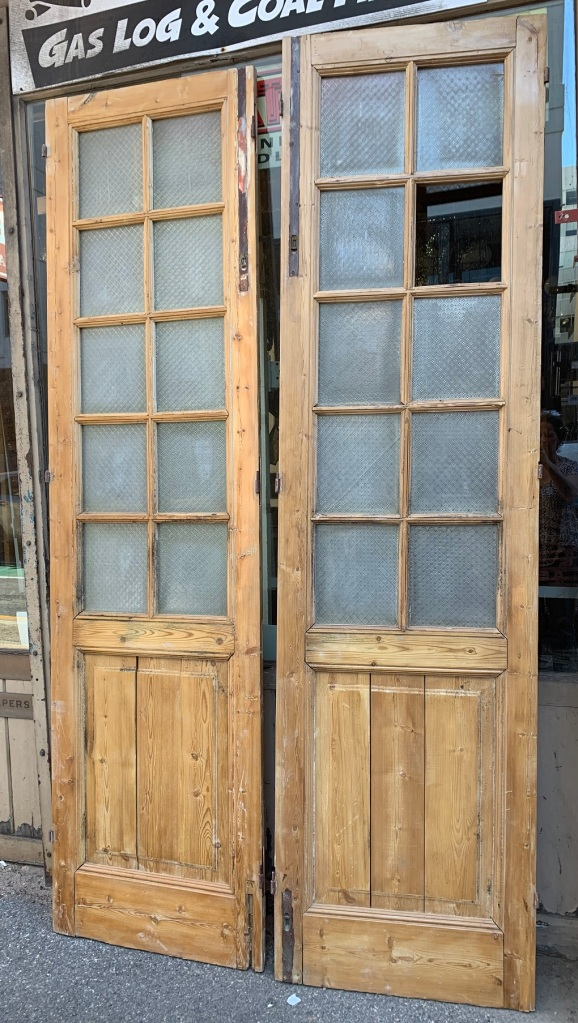Large stripped timber French door pair, 10 panels for glass (one needs replacement), w 1420 x h 2630mm, $675 salvaged, recycled, demolition, reproduction, restoration, home renovation secondhand, used , original, old, reclaimed, heritage, antique, victorian, art nouveau edwardian, georgian, art deco