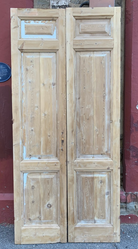 Large stripped timber French door pair, w1125 x h 2490mm, $440 $440 salvaged, recycled, demolition, reproduction, restoration, home renovation secondhand, used , original, old, reclaimed, heritage, antique, victorian, art nouveau edwardian, georgian, art deco