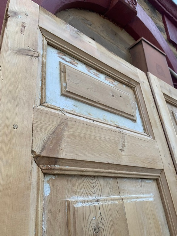 detail of Large stripped timber French door pair, w1125 x h 2490mm, $440 m, $440salvaged, recycled, demolition, reproduction, restoration, home renovation secondhand, used , original, old, reclaimed, heritage, antique, victorian, art nouveau edwardian, georgian, art deco