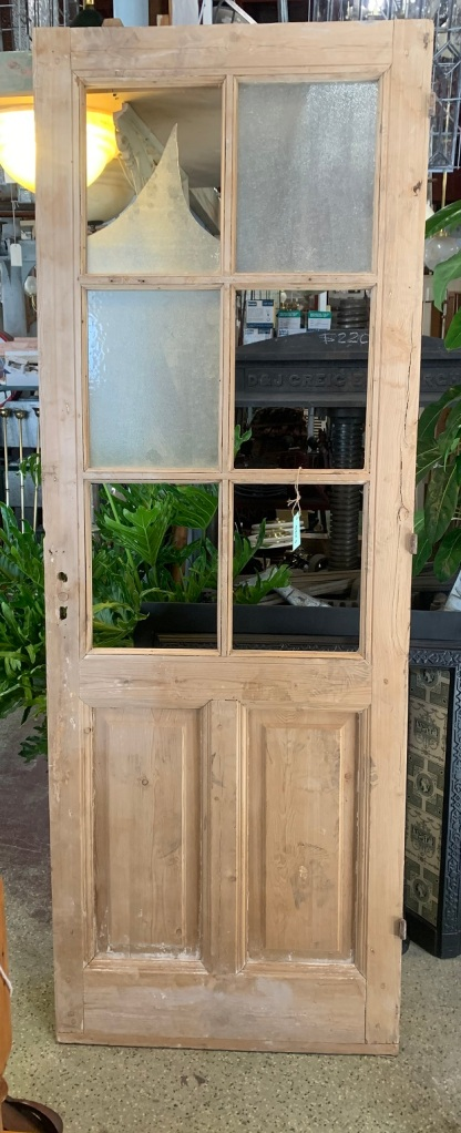 Stripped pine timber door, upper glass panels (needs replacement) W 820 x H 2255mm, $245 salvaged, recycled, demolition, reproduction, restoration, home renovation secondhand, used , original, old, reclaimed, heritage, antique, victorian, art nouveau edwardian, georgian, art deco