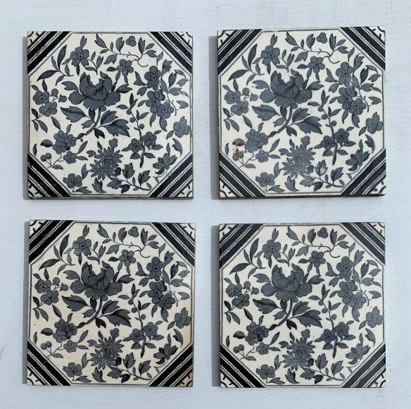 Black and white floral feature tiles, 1890-1900, Aesthetic style, $85 per pair, 2 pairs available. SET 286 salvaged, recycled, demolition, reproduction, restoration, home renovation secondhand, used , original, old, reclaimed, heritage, antique, victorian, art nouveau edwardian, georgian, art deco