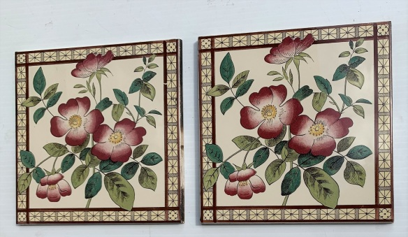 Climbing rose, print feature tiles, reproduction, 152 x 152mm, $60 pair SET 284 salvaged, recycled, demolition, reproduction, restoration, home renovation secondhand, used , original, old, reclaimed, heritage, antique, victorian, art nouveau edwardian, georgian, art deco