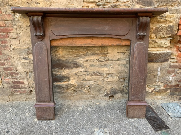 vintage salvaged 1800s 1900 1910 1920 1930 1940 1950 recycled demolition reproduction, restoration, renovation secondhand, used , original,old,reclaimed,heritage,antique, victorian,art nouveau edwardian, georgian,art decoEarly Cedar VIctorian mantle, top shelf is 1605 mm x 205 mm , height is 1300 mm , opening is 940 mm wide x 915 mm tall , $ 685