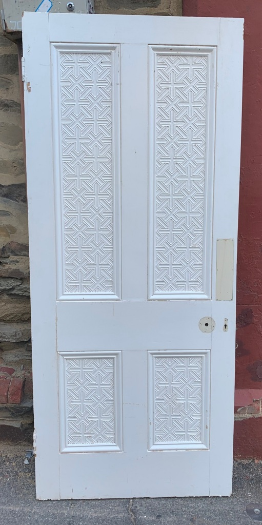 vintage salvaged 1800s 1900 1910 1920 1930 1940 1950 recycled demolition reproduction, restoration, renovation secondhand, used , original,old,reclaimed,heritage,antique, victorian,art nouveau edwardian, georgian,art deco4 Panel door with carved / embossed panels , 2127 mm x 915 mm , 220