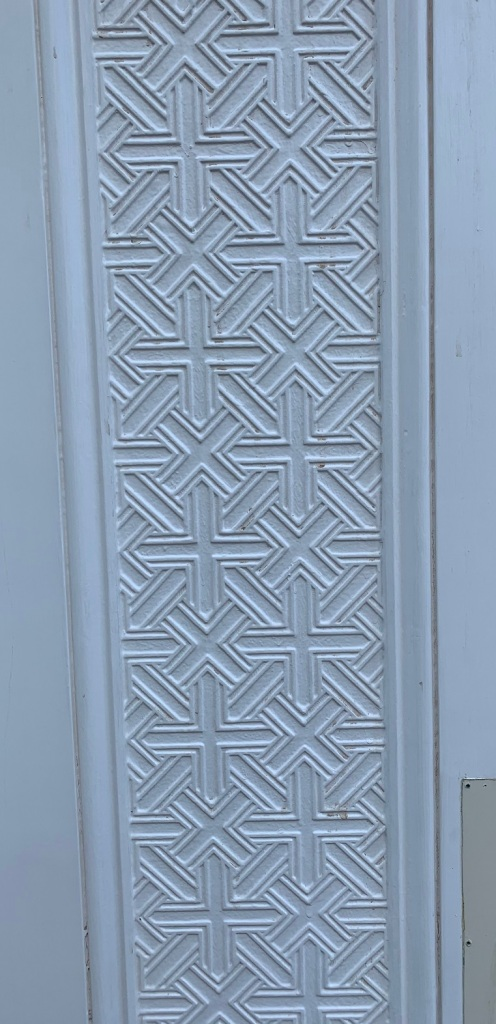 vintage salvaged 1800s 1900 1910 1920 1930 1940 1950 recycled demolition reproduction, restoration, renovation secondhand, used , original,old,reclaimed,heritage,antique, victorian,art nouveau edwardian, georgian,art decoDetail of carved/embossed panels to door