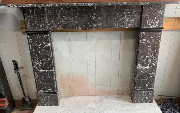 """Georgian """" St Annes """" marble fire surround, very clean , fully restored , top shelf is 1645 mm x 280 mm , height is 1195 mm , opening is 940 x 940 mm , $ 3300"""