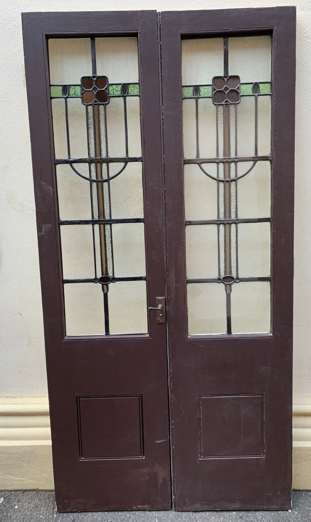 """Pair of French doors with """"Art and Crafts"""" design Leadlight , doors are 2080 mm tall x 1050 mm wide x 43 mm thick , $985 the pair Pair of French doors with """" Art and Crafts style """" Leadlight , doors are 2080 mm tall x 1050 mm wide x 43 mm thick , $985 the pair vintage salvaged 1800s 1900 1910 1920 1930 1940 1950 recycled demolition reproduction, restoration, renovation secondhand, used , original,old,reclaimed,heritage,antique, victorian,art nouveau edwardian, georgian,art decoPair of French doors with """" Art and Crafts style """" Leadlight , doors are 2080 mm tall x 1050 mm wide x 43 mm thick , $ 985 the pair"""