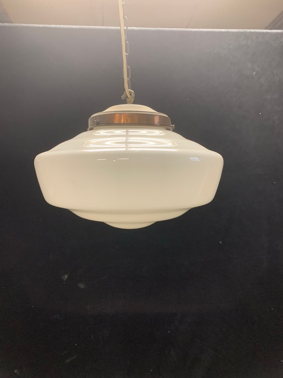 """vintage salvaged 1800s 1900 1910 1920 1930 1940 1950 recycled demolition reproduction, restoration, renovation secondhand, used , original,old,reclaimed,heritage,antique, victorian,art nouveau edwardian, georgian,art decoMilkshade hanging light with ceiling gallery and chain , 350 mm diameter , 800 mm drop , $ 165 """"Q'"""
