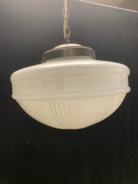 vintage salvaged 1800s 1900 1910 1920 1930 1940 1950 recycled demolition reproduction, restoration, renovation secondhand, used , original,old,reclaimed,heritage,antique, victorian,art nouveau edwardian, georgian,art decoMilkshade hanging ceiling light with embossed pattern , 350 mm diameter , 800 mm drop , with ceiling gallery and chain , $ 245 'R'