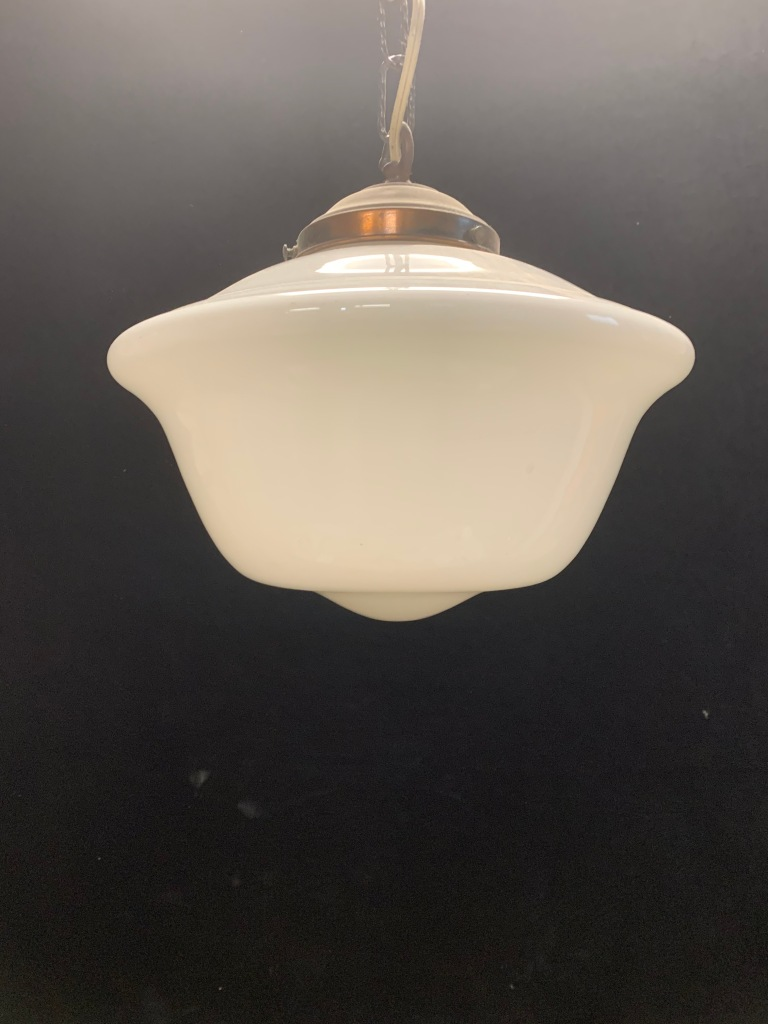 vintage salvaged 1800s 1900 1910 1920 1930 1940 1950 recycled demolition reproduction, restoration, renovation secondhand, used , original,old,reclaimed,heritage,antique, victorian,art nouveau edwardian, georgian,art decoMilkshade hanging ceiling light , with chain and ceiling gallery , 300 mm diameter , 800 mm drop , $ 155 , ' S'
