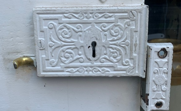 vintage salvaged 1800s 1900 1910 1920 1930 1940 1950 recycled demolition reproduction, restoration, renovation secondhand, used , original,old,reclaimed,heritage,antique, victorian,art nouveau edwardian, georgian,art decoDetail of internal lock on door 'X'